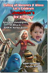 Design online, download jpg immediately DIY monsters vs aliens party birthday Invitations