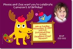 Design online, download jpg immediately DIY moose and zee party birthday Invitations