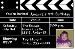Design online, download jpg immediately DIY movie clapper birthday party Invitations