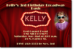 Design online, download jpg immediately DIY movie curtain birthday party Invitations
