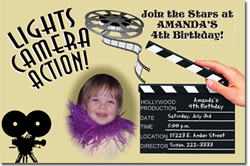 Design online, download jpg immediately DIY movie hollywood birthday party Invitations