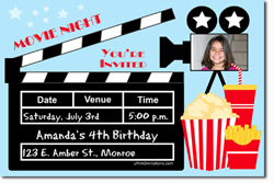 Design online, download jpg immediately DIY movie night party birthday Invitations