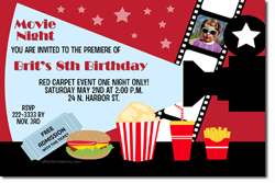 Design online, download jpg immediately DIY movie projector birthday party Invitations