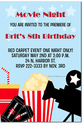 Design online, download jpg immediately DIY movie party birthday Invitations