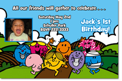 Design online, download jpg immediately DIY mr men birthday party Invitations