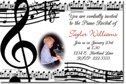 Design online, download jpg immediately DIY musical recital party birthday Invitations