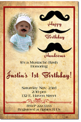 Design online, download jpg immediately DIY mustache bash birthday party Invitations