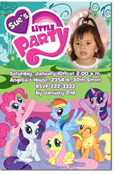 Design online, download jpg immediately DIY my little pony party birthday Invitations