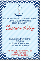 Design online, download jpg immediately DIY nautical ship birthday party Invitations