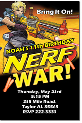 Design online, download jpg immediately DIY nerf gun battle birthday party Invitations