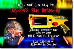 Design online, download jpg immediately DIY nerf gun birthday party Invitations