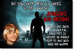 Design online, download jpg immediately DIY ninja karate birthday party Invitations