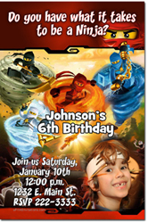Design online, download jpg immediately DIY ninjago lego birthday party Invitations