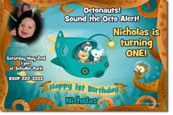 Design online, download jpg immediately DIY octonauts party birthday Invitations