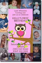 Design online, download jpg immediately DIY owl party birthday Invitations