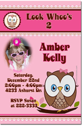 Design online, download jpg immediately DIY owl party birthday Invitations