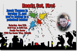 Design online, download jpg immediately DIY paintball party birthday invitations