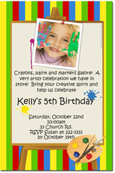 Design online, download jpg immediately DIY painting birthday party Invitations
