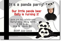 Design online, download jpg immediately DIY panda bear birthday party Invitations