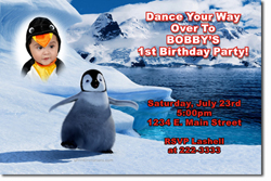 Design online, download jpg immediately DIY penguin happy feet birthday party Invitations