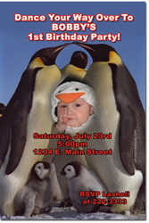 Design online, download jpg immediately DIY penguin birthday party Invitations
