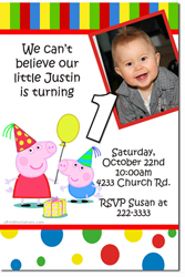 Design online, download jpg immediately DIY peppa pig party birthday Invitations