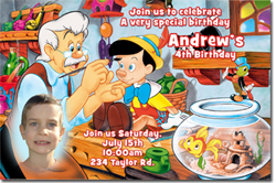 Design online, download jpg immediately DIY pinocchio birthday party Invitations
