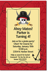 Design online, download jpg immediately DIY pirate anchor birthday party Invitations
