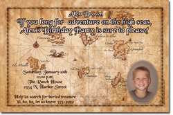 Design online, download jpg immediately DIY pirate map birthday party Invitations