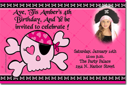Design online, download jpg immediately DIY pirate skull pink party birthday Invitations