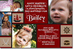 Design online, download jpg immediately DIY pirate girl party birthday Invitations