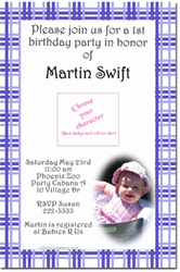Design online, download jpg immediately DIY plaid birthday party Invitations