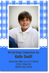 Design online, download jpg immediately DIY plaid fancy birthday party Invitations