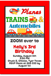 Design online, download jpg immediately DIY planes, trains and automobiles birthday party Invitations