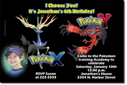 Design online, download jpg immediately DIY pokemon x and y birthday party Invitations