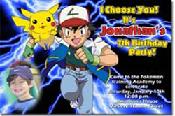 Design online, download jpg immediately DIY pokemon birthday party Invitations