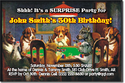 Design online, download jpg immediately DIY poker dogs bachelor party invitations