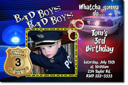 Design online, download jpg immediately DIY police birthday party Invitations