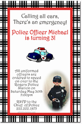 Design online, download jpg immediately DIY police car birthday party Invitations