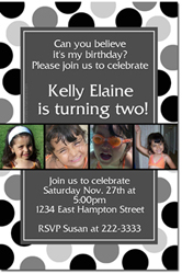 Design online, download jpg immediately DIY polka dots birthday invitations