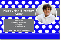 Design online, download jpg immediately DIY polka dots birthday party Invitations