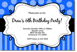 Design online, download jpg immediately DIY polka dots and stripes birthday party Invitations