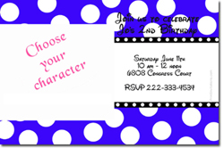 Design online, download jpg immediately DIY polka dots with clipart birthday party Invitations