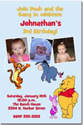 Design online, download jpg immediately DIY winnie the pooh characters birthday party Invitations