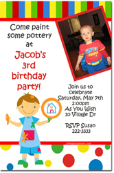 Design online, download jpg immediately DIY pottery painting birthday party Invitations