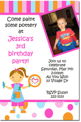 Design online, download jpg immediately DIY pottery painting party birthday Invitations