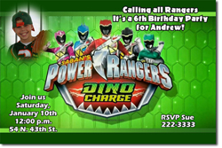 Design online, download jpg immediately DIY power rangers dino charge birthday party Invitations