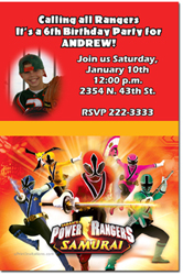 Design online, download jpg immediately DIY power ranger samurai birthday party Invitations