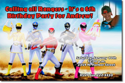 Design online, download jpg immediately DIY power rangers jungle fury birthday party Invitations