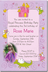 Design online, download jpg immediately DIY princess and dragon party birthday Invitations
